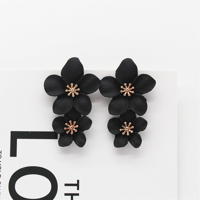 2019 New Design Fashion Jewelry Elegant big double Flower Earrings Summer Style Beach Party Statement earring for woman
