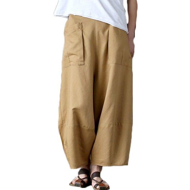 1df1047bcf32c0 2018 Casual Cotton Linen Wide Leg Pants Women Plus Size Vintage Elastic  High Waist Autumn Summer Harem Pants Trousers Pantalones