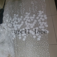 a001 3d pearls offwhite applique dobby good quality haute couture tulle mesh lace fabric for wedding party
