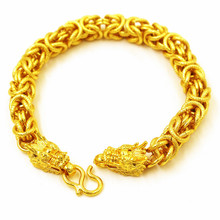 Gold Dragon Head Bracelet for Men Cloth Bibcock Fashion Jewelry Necklace Sand Punk