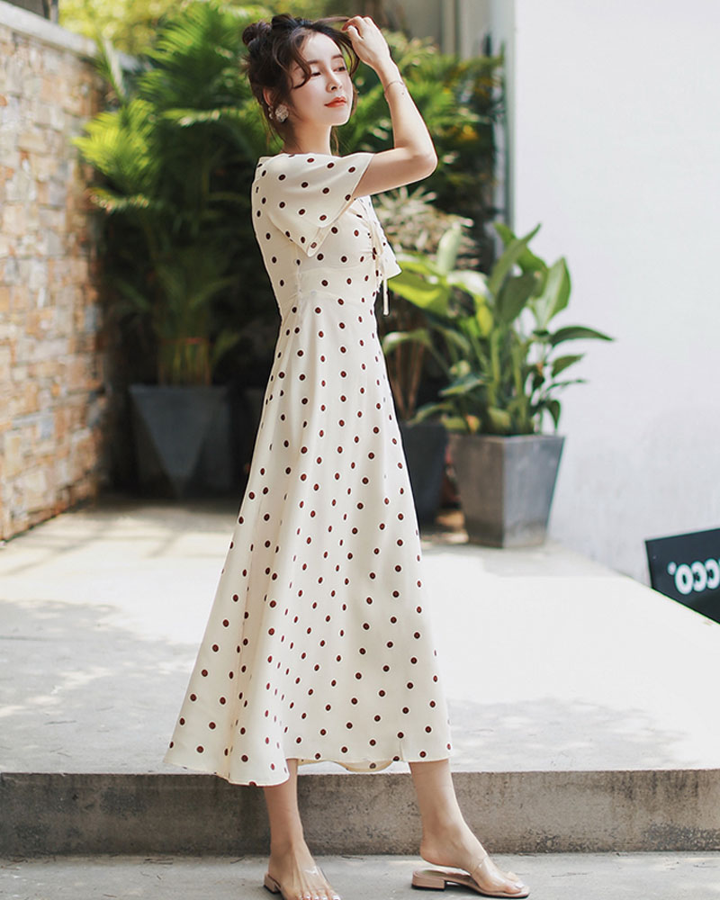 bfd360b651b70 Flectit French Style Vintage 80s Polka Dot Long Dress Women Front Ruched  Side Slit Short Sleeve Mid Length Holiday Dress