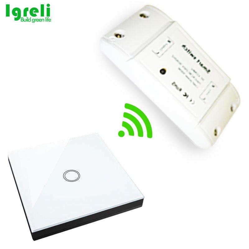 Palo de interruptor inteligente táctil inalámbrico Igreli, piezas de bricolaje de modificación del hogar común con Control remoto del receptor de 433 mhz para la luz del hogar