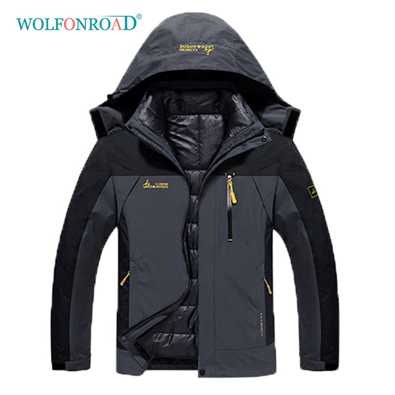 WOLFONROAD Men Women Plus Size 2 Piece Jackets Outdoor Sport Thermal Coats Winter Hiking Camping Jackets