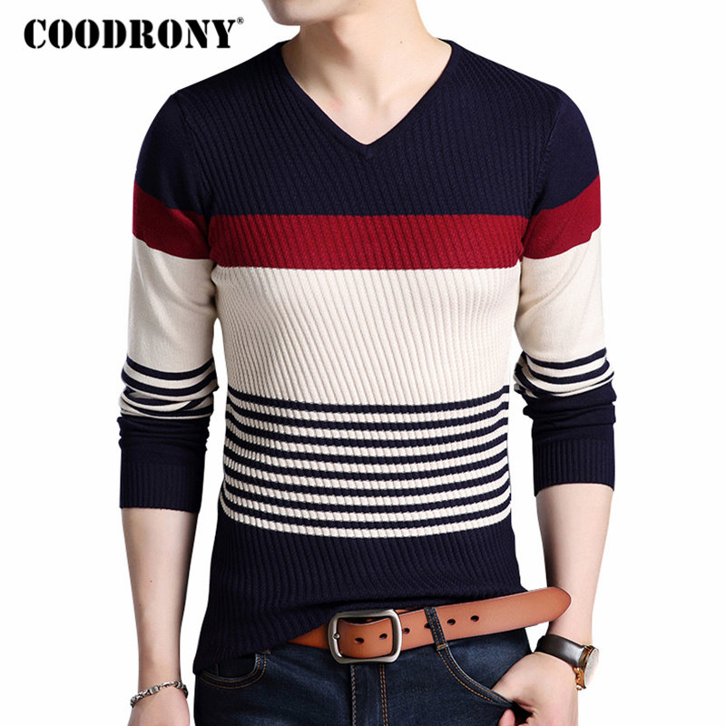 Sweater Men Clothing Knitwear Pull V-Neck Warm Thick Striped COODRONY Autumn Casual Winter