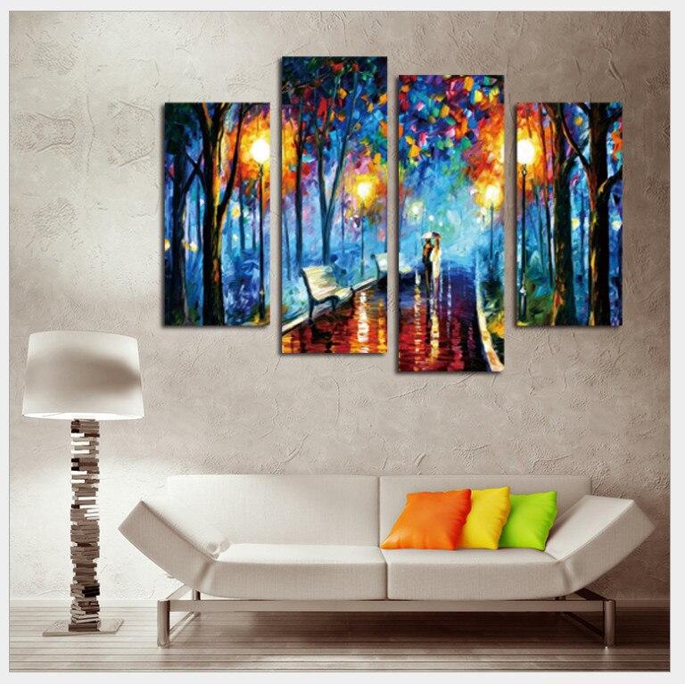Palette Knife 4 Pieces Abstract Canvas Art Prints olejomalba pro obývací pokoj Wall Art Lovers Picture Walking in Rainy Night