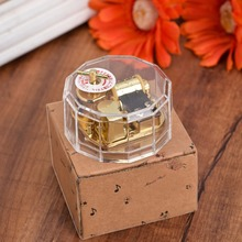 2017 Newest Transparent Acrylic Clockwork Movement Music Box Frozen Castle in the Sky Five Songs