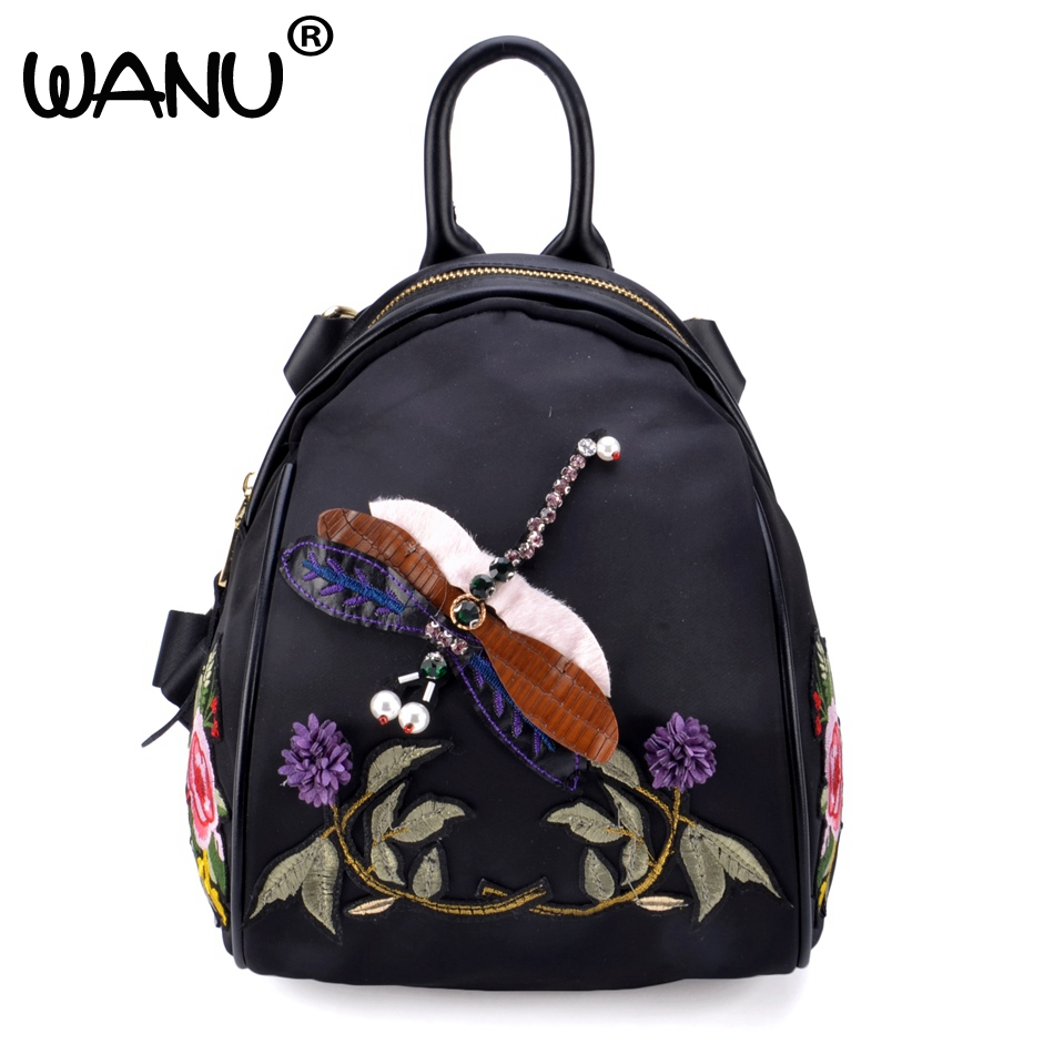 WANU Fashion Women Backpacks Design Female Chinese Style Backpack Flowers Embroidery Bags Genuine Leather with Waterproof
