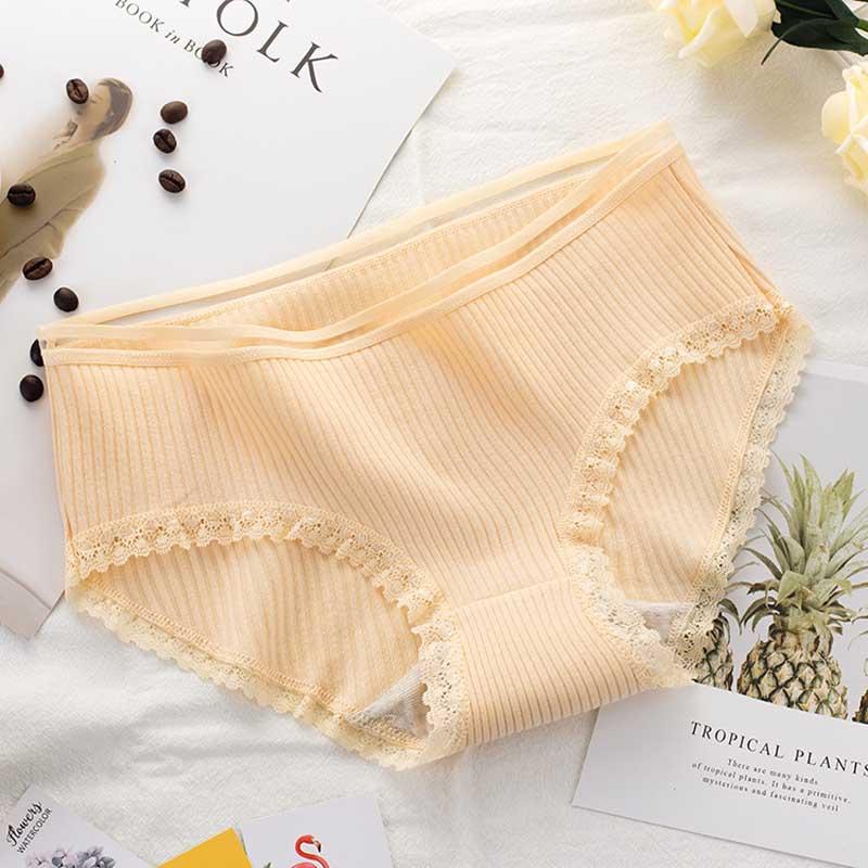 Women's Cotton Panties Female Striped Breathable Briefs Sexy Lace Decoration Underwear Women Plus Size L XL XXL Lingerie Intimates  (9)