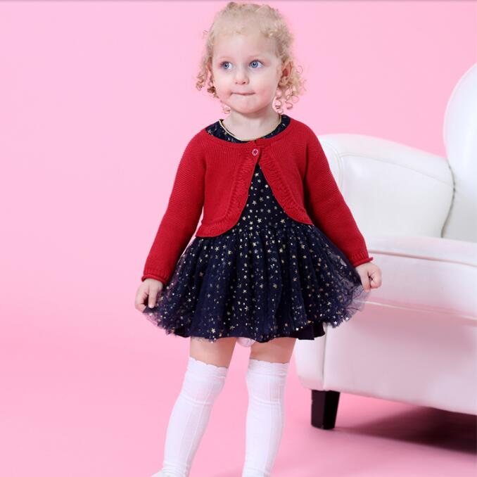 Baby Girls' Dress Sets paillette Girls Long Sleeve Dress with Knit Cardigan Cute christening dress for baby girl