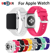 цена на Sport soft Silicone strap band Bracelet for apple watch band Series 1/2/3 42mm 38mm Wrist Strap for i watch 4 5 40mm 44mm bands