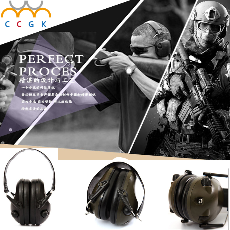 Military gear Ear Protectors Anti-noise tactical headset IPSC Shooting Sport Hunting  3.5 Plug  Electronic Protection Earmuffs