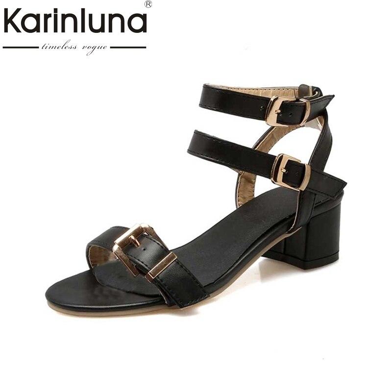 KARINLUNA Sexy Ankle Straps Buckle Summer Shoes Woman Square Medium Heels Open Toe Platform Sandals Big Size 34-43