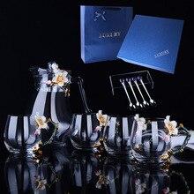 European style enamel coffee cups kettle set flower tea milk cups heat resistant glass drinkware friend gifts