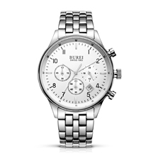 BUREI 7006 Switzerland watches men luxury brand Men's Date Multifunction Chronograph Stainless Steel Sapphire Waterproof Watch
