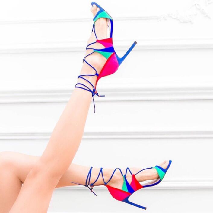 Mixed Colors Faux Suede Leather Women Lace Up Sandals Sexy Open Toe Ladies Colorful High Heels Cut Out Style Ankle Wrap Sandals hot black satin straps women open toe sandals fashion cut out style butterfly knot back ladies lace up high heels slingback shoe