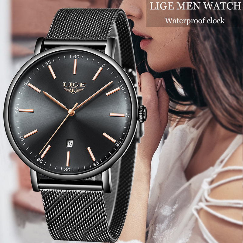LIGE Ultra Thin Ladies Watch Brand Luxury Women Watches Waterproof Rose Gold Stainless Steel Quartz Wrist Watch Montre Femme