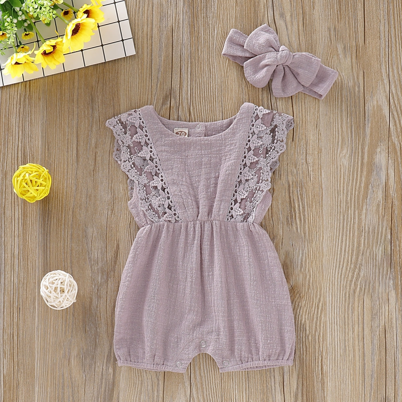 HTB1Bj2Sd79E3KVjSZFGq6A19XXaK Summer Baby Girl Rompers Newborn Baby Clothes Toddler Flare Sleeve Solid Lace Design Romper Jumpsuit with Headband One-Pieces