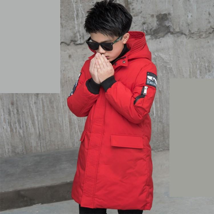 Children Winter Coat Cotton Down Jackets Teenage Boys Clothing 2018 Kids Warm Thick Hood Long Down Parka Snowsuit 10 12 14 Year bibihou new boys parka snowsuit children jackets warm boys clothes kids baby thick cotton down jacket cold winter coat outwear