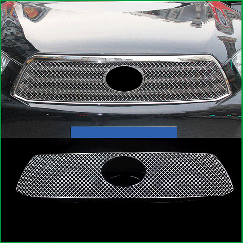 Car styling Stainless Steel Front Bumper Honeycomb Grille For Toyota highlander 2009-2011 Center grill Cover Trim Accessories