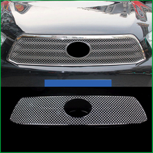 цена на Car styling Stainless Steel Front Bumper Honeycomb Grille For Toyota highlander 2009-2011 Center grill Cover Trim Accessories
