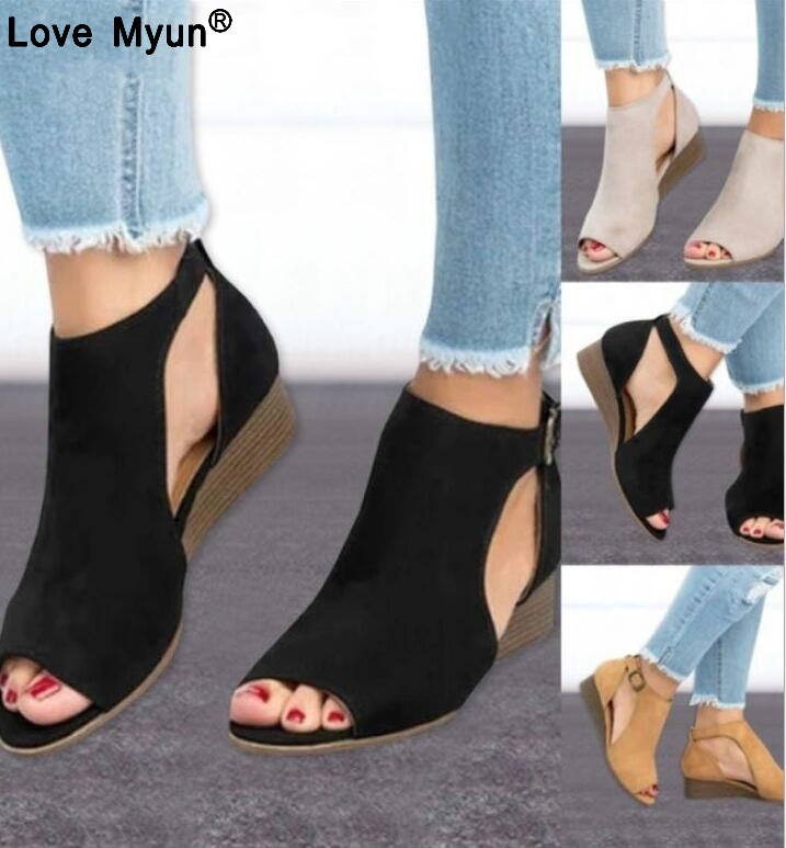 2018 woman wedge buckles fish mouth sandals gladiator women sandals mid heel sandals ladies summer peep toe women shoes wef67 ladybird learners things that go