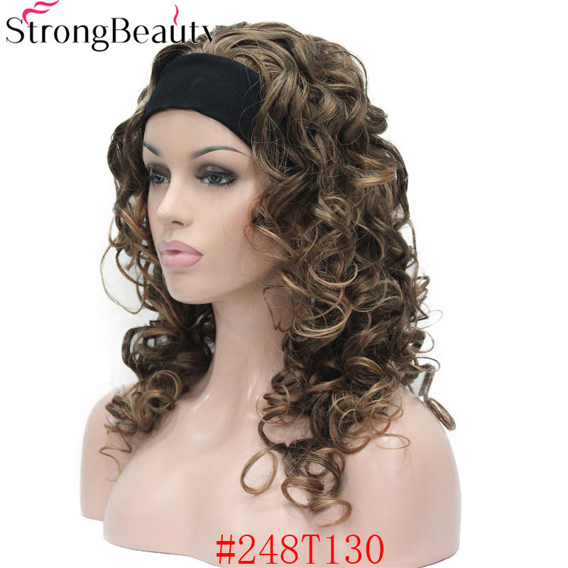 5985 #248T130 new 34 wig with headband Black Brown Copper mix curly women`s 20 synthetic wig (4)