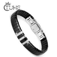 New Fashion Black Charm Bracelet Ceramic Stainless Steel Crystal Link Bracelets For Women Silver Color Fashion Jewelry Gifts