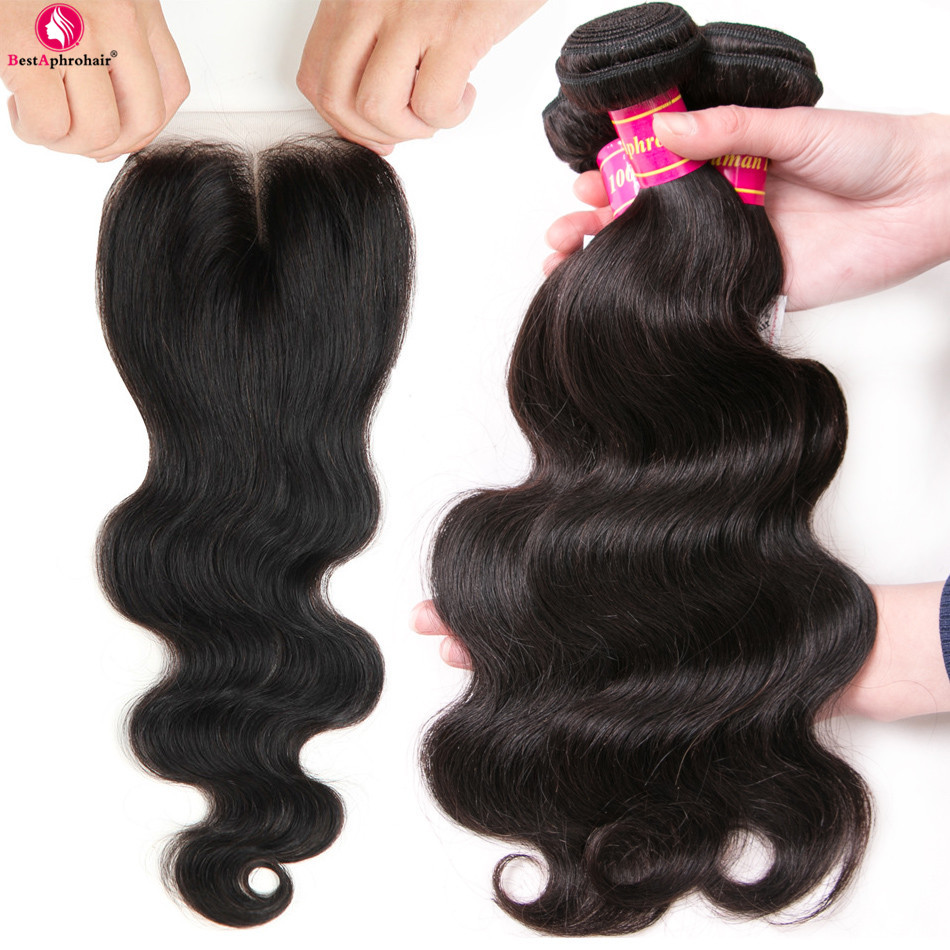 Aphro Hair Body Wave Brazilian Hair Weave Bundles With Closure 4pcs/Lot Non Remy Human Hair 3 Bundles With Closure Middle Part