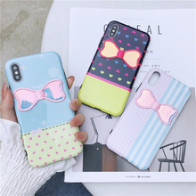 Female Cute Bow Case For iPhone X XS XR XMAX IMD Soft TPU Back Cover For iPhone 6 7 8 Plus 360 Full Protective Shell For Girls rock protective pc tpu back shell w soft edging case for iphone 6 plus grayish blue