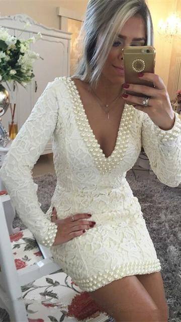 Backless 2019   Cocktail     Dresses   Sheath Deep V-neck Long Sleeves Short Mini Lace Pearls Party Homecoming   Dresses