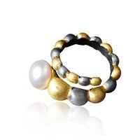 RADHORSE 925 Серебряные кольца для женщин ювелирные украшения барокко Жемчуг двухцветное моделирование S925 Серебряное кольцо регулируемое сереб