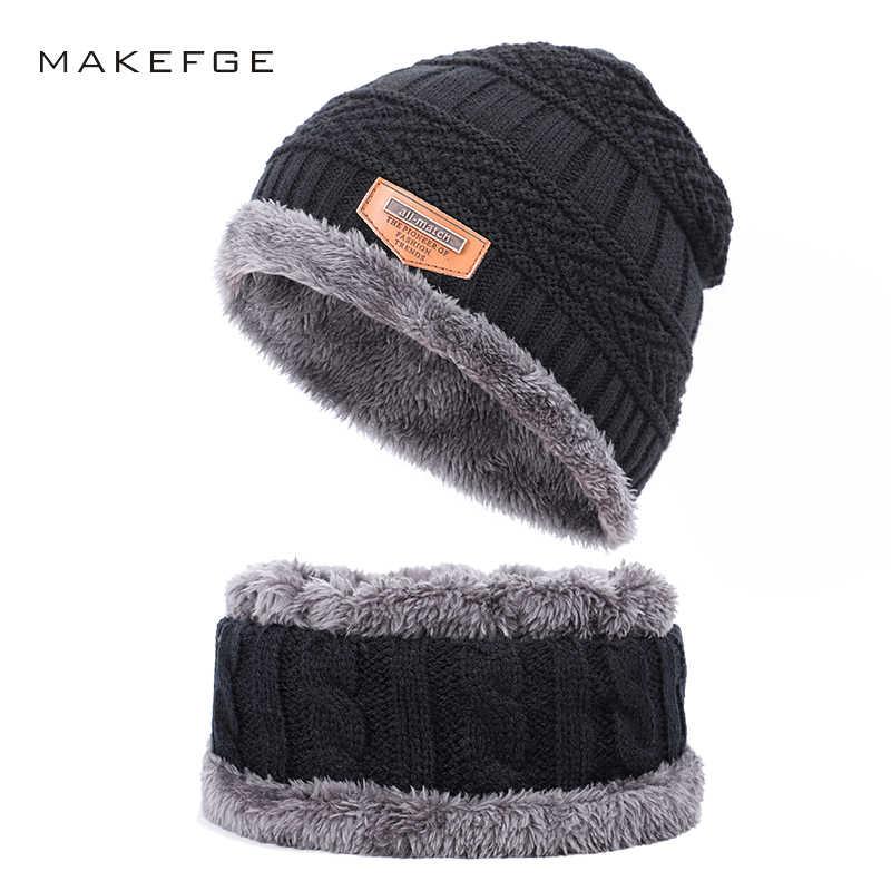 66f0f9dd8b7a8 Winter men's knit cotton caps warm and comfortable plus velvet thick boy girl  ski hats Beanies