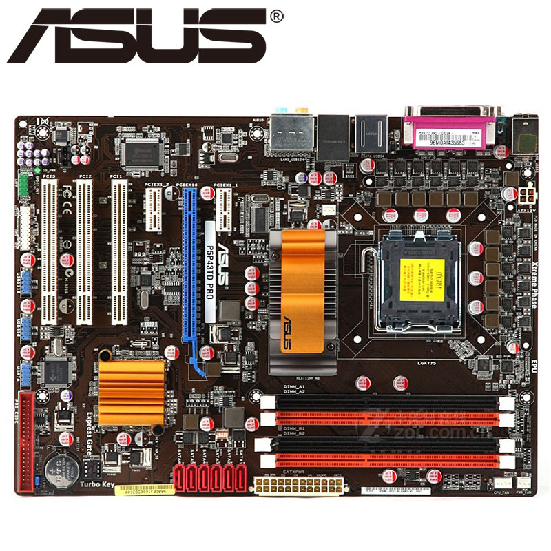 Asus P5P43TD PRO Desktop Motherboard P43 Socket LGA 775 Q8200 Q8300 DDR3 16G ATX UEFI BIOS Original Used Mainboard On Sale original used desktop motherboard for asus p5ql pro p43 support lga7756 ddr2 support 16g 6 sata ii usb2 0 atx