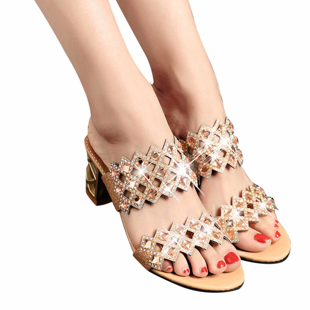 2018 Style Summer Women Crystal High Heels Mules Shales Slides Female Heels  Slippers Sexy Fashion Big 4e2251a17c1a
