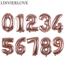 ФОТО 16/32inch rose gold 0-9 number foil balloons digit helium ballons birthday party wedding decor air baloons event party supplies