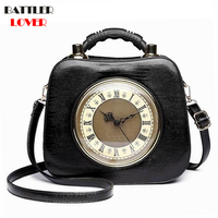 2018 Real Clock Shoulder Bag Women Cross Body Bags Lady PU Leather Handbags Stylish Party Clutches Evening Purses Mujer Femme