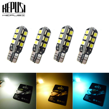 4 PcsT10 W5W CANBUS Wedge Door Instrument Side Bulb Lamp Car White Warm Ice blue LED Light 24 SMD 2835 PCB DC 12V