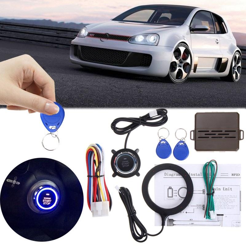 Auto Car Alarm Engine Starline Push Starter Button RFID Safe Lock Ignition Switch Keyless Entry Starter