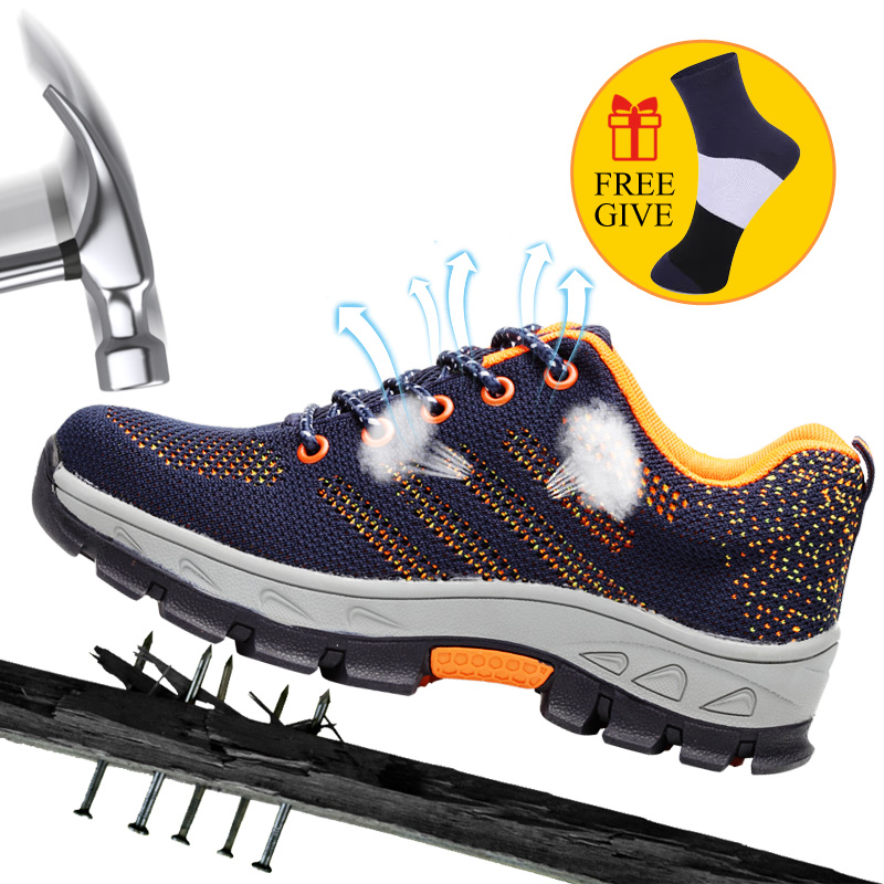 Men's Breathable Steel Toe Cap Work Safety Shoes Men Outdoor Anti-slip Steel Puncture Proof Construction Safety Boots Shoes