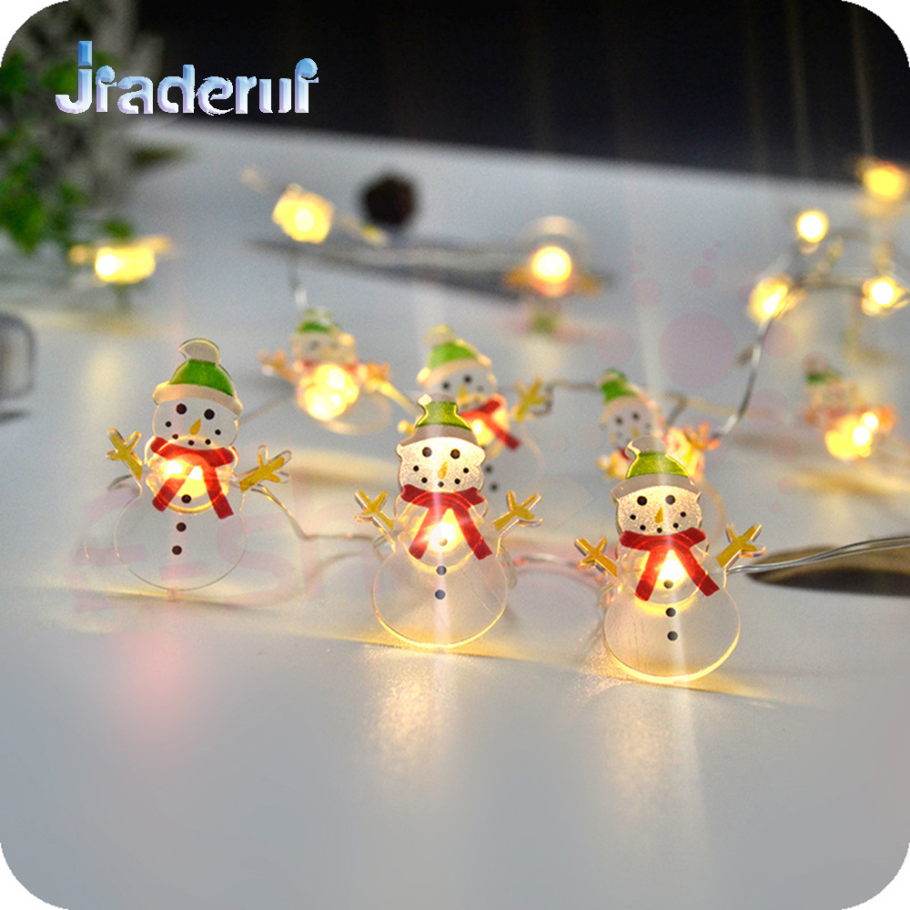 Jiaderui LED Snowman Copper Wire String Lights New Year Lights 2M 20LED Christmas Party Wedding Decor Garland Lights Warm White