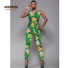2018 new fabric pattern sleeveless jumpsuit african clothes for women bazin riche casual V-neck femme fashion clothingA722905