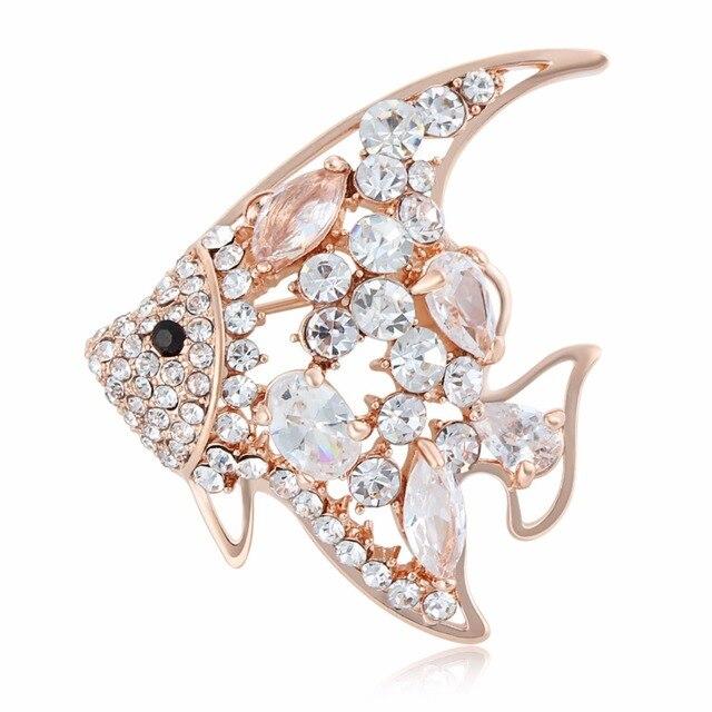 Brooches Pins Gold Silver Colors Crystal Rhinestone Fish