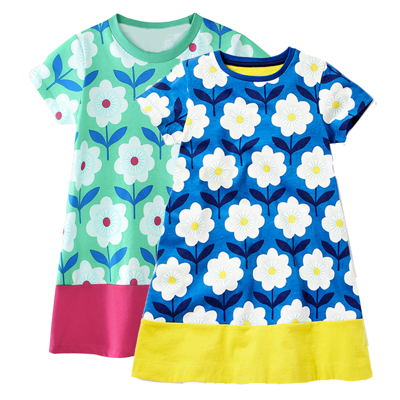 Exquisite dresses for girls in stock baby girl clothes with floral pattern A-line childrens dresses toddler summer wear