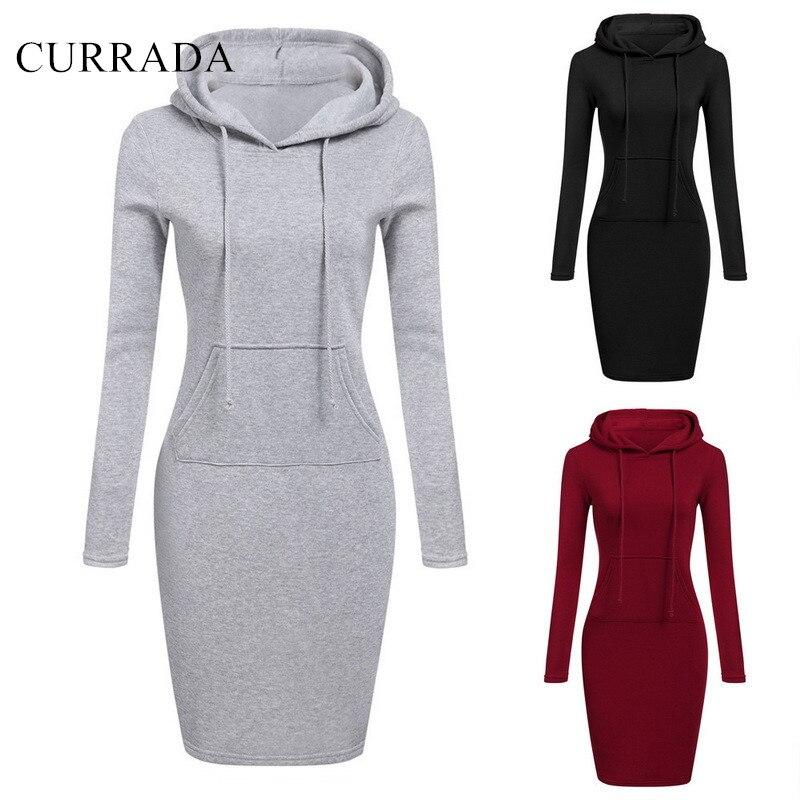 CURRADA 2018 Fashion Hooded Drawstring Fleeces Women Dresses Autumn Winter Warm Dress Women Vestidos Hoodies Sweatshirt Dress