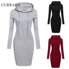 4a7682a8e6a58b CURRADA 2018 Mode Mit Kapuze Kordelzug Vliese Frauen Kleider Herbst Winter  Warm Kleid Frauen Vestidos Hoodies