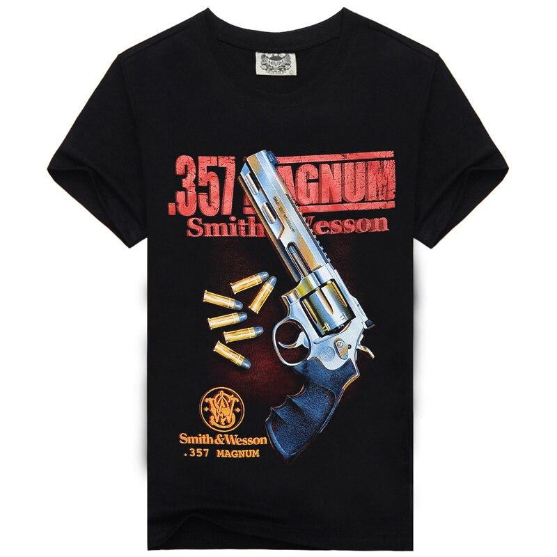 [Men bone] Men's 357 magnum smith wesson style   t  -  shirts   casual black cotton   t     shirt   Summer Men   T     Shirt     t  -  shirt   men Plus size