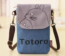 Hot selling women fashion cartoon printing handbags letter and embroidery cell phone pockets messenger bag women