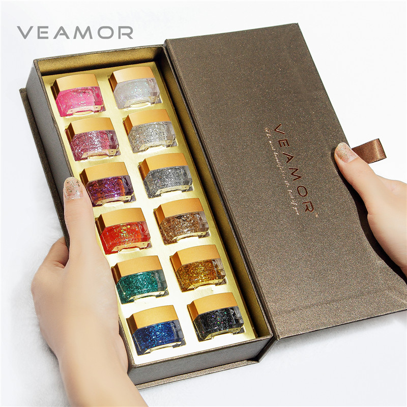 VEAMOR 12PCS UV Glitter Nail Polish Resin Nail Gel Polska UV Builder Presentförpackning Bra Present Polish Set Gel UV Gel Nail Polish