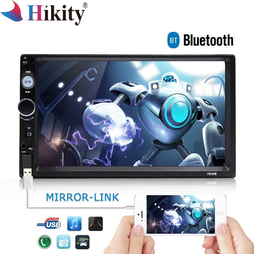 Hikity 7010B 2 Rádio Do Carro um Din Quadro Livre MP5 Mirrorlink Player Multimídia Bluetooth Estéreo de Áudio Apoio Câmera de Visão Traseira