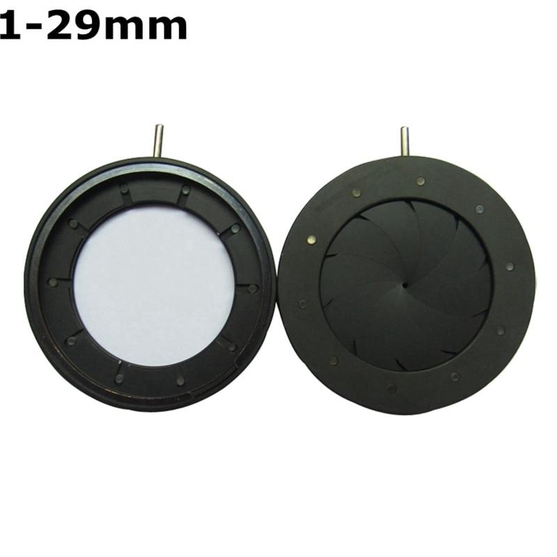 Durable 1-29mm Amplifying Diameter Metal Zoom Adjustable Optical Iris Diaphragm Aperture Condenser for Digital Camera Microscope  цены